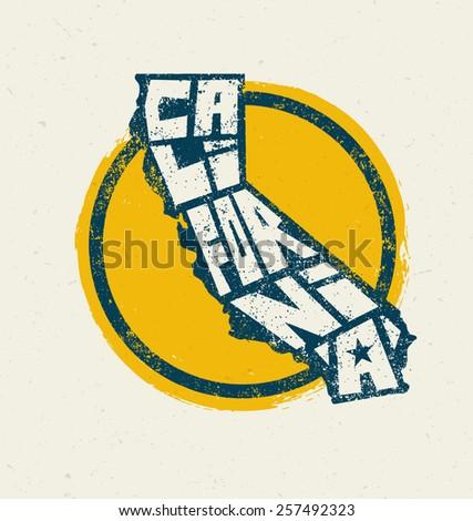 California State T-shirt Print Vector Concept. Creative Lettering Design Element - stock vector