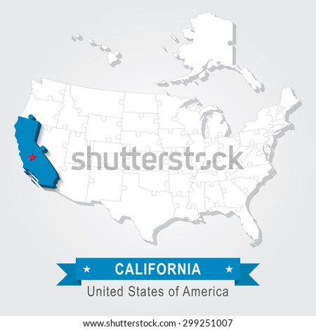 California state. USA administrative map. - stock vector
