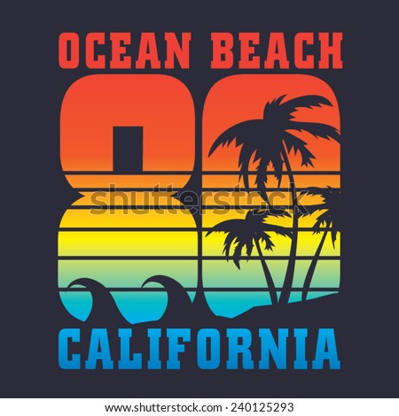 California 80 surf typography, t-shirt graphics, vectors - stock vector
