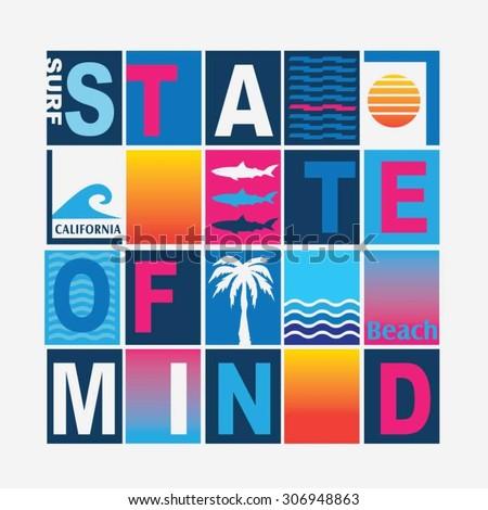 California surf typography, t-shirt graphics, vectors, color  - stock vector