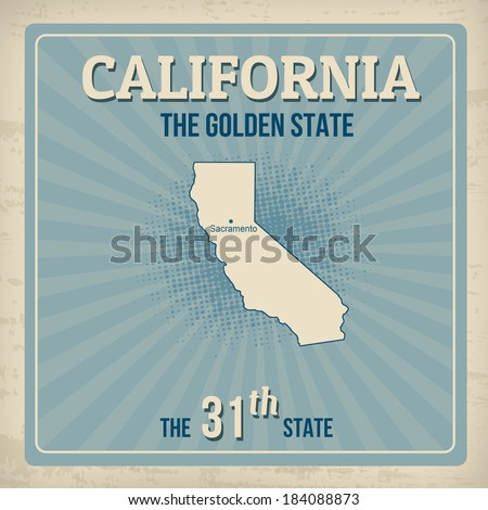 California travel vintage grunge poster, vector illustration - stock vector