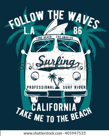 California typography for t-shirt print , vector illustration - stock vector