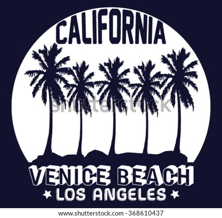 California Venice Beach vector print and varsity. For t-shirt or other uses in vector.T shirt graphic - stock vector