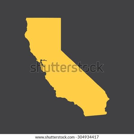 California yellow state border,map. Vector illustration EPS8.  - stock vector