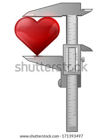Caliper measures heart. Concept of heart symbol and measuring tool. Qualitative vector (EPS-10) illustration for valentine's day, wedding, health, love, romantic relationship, medicine, etc - stock vector