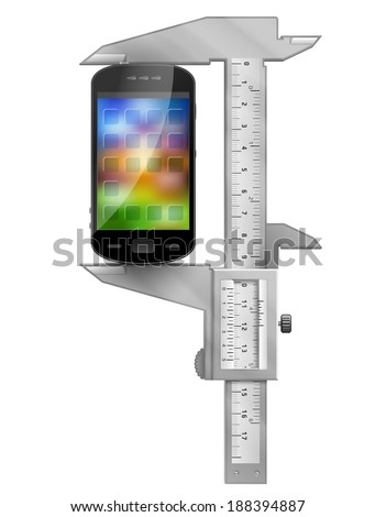 Caliper measures smartphone. Concept of phone symbol and measuring tool. Qualitative vector illustration about smartphone, communication, mobile technology, digital devices, phone development, etc - stock vector