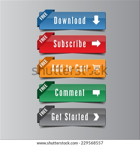 Call Action Button Free Ribbon, high quality button vector EPS10 - stock vector