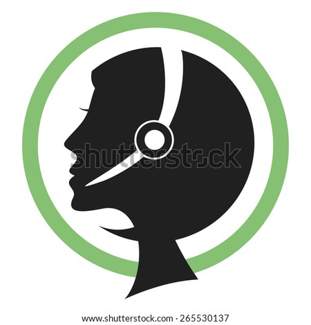 Call center assistant silhouette with headset. - stock vector