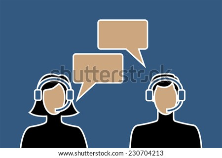 Call center avatar icons of male and female wearing headsets, with speech bubbles, suitable for helpdesk and other customer support services, telecommunications and conferencing - stock vector