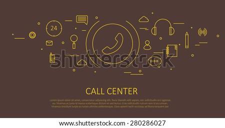 CALL CENTER FLAT THIN DESIGN - stock vector