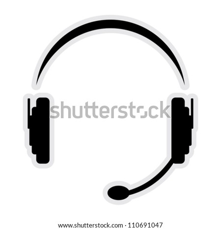 call center headset - stock vector
