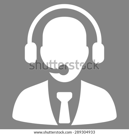 Call center icon from Business Bicolor Set. Vector style: flat symbol, white color, rounded angles, gray background. - stock vector