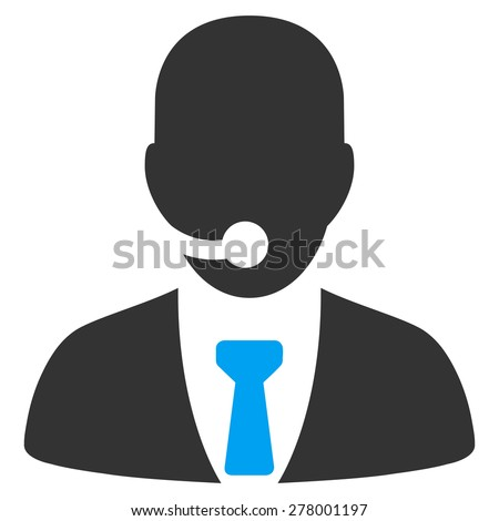 Call center manager icon from Business Bicolor Set. This isolated flat symbol uses modern corporation light blue and gray colors. - stock vector