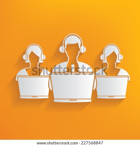 Call center on yellow background,clean vector - stock vector