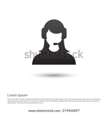 call center operator icon - stock vector