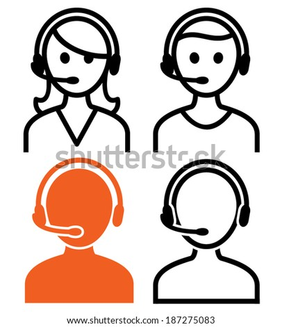 Call center operator icons. Vector illustration. - stock vector