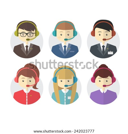 Call center operator icons with a smiling friendly man and woman, vector - stock vector