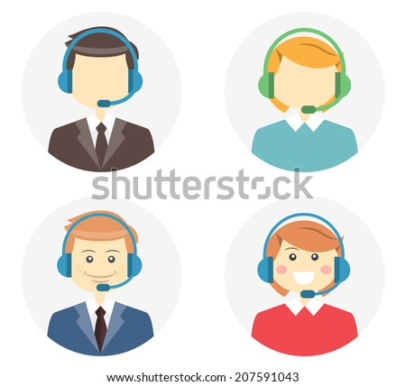 Call center operator icons with a smiling friendly man and woman wearing headsets and a second variation where they are featureless or faceless on round web buttons  vector illustration - stock vector