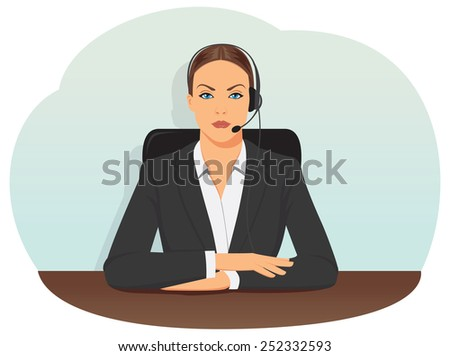 Call center operator in headset sitting on office chair - stock vector