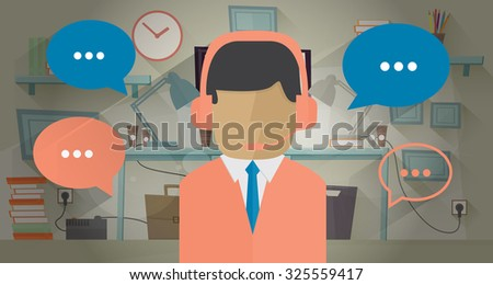 Call center operator in the office. Vector illustration in flat style. Communication concept. Man with headset. Communication bubble around operator - stock vector