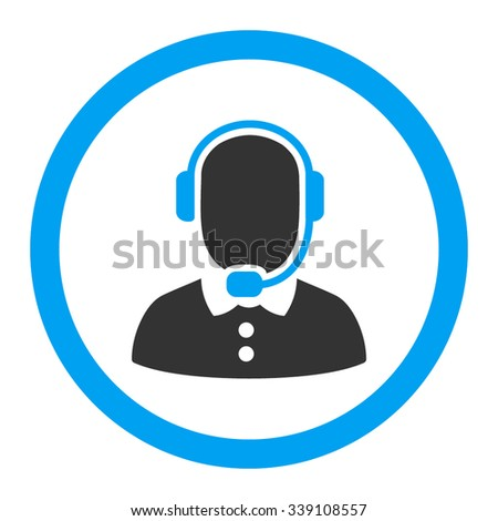 Call Center Operator vector icon. Style is bicolor flat rounded symbol, blue and gray colors, rounded angles, white background. - stock vector