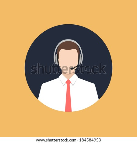 call center operator with headset web icon. colorful flat style vector illustration - stock vector