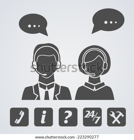 Call center or technical support icons collection. Vector illustration - stock vector