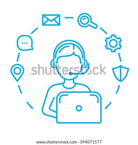 Call center or technical support man operator. Line design vector illustration - stock vector