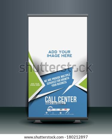 Call Center Roll Up Banner Design - stock vector