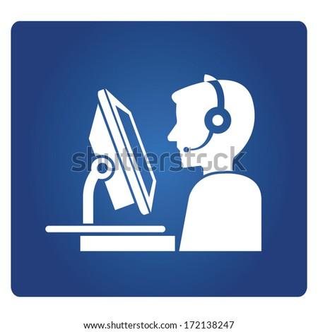 call center service - stock vector