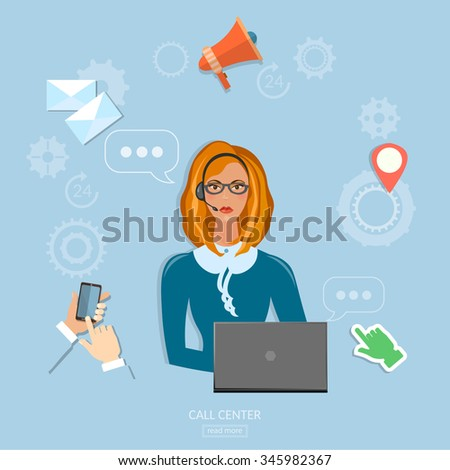 Call center technical support concept helpline operator with headphones woman  - stock vector