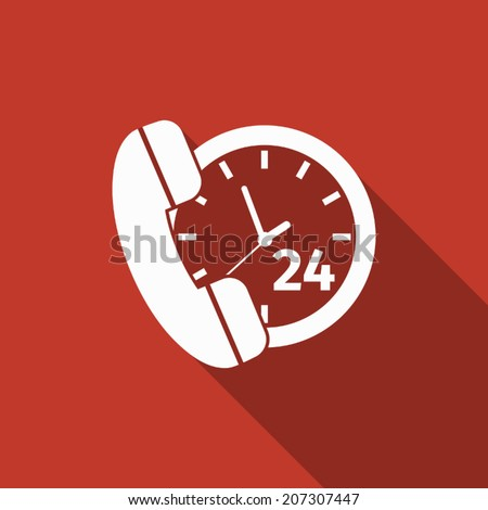 call 24 hours icon with long shadow - stock vector