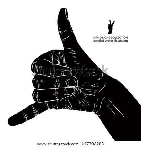 Call me hand sign, detailed black and white vector illustration. - stock vector