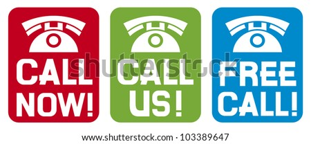 call now label, call us label, free call label (phone icon set, phone icons) - stock vector