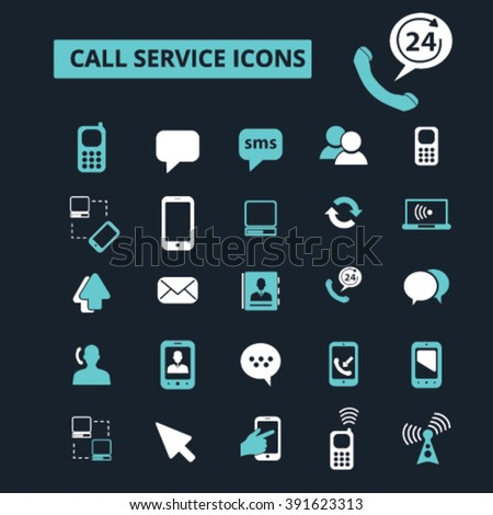 call service icons  - stock vector