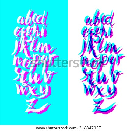 Calligraphic alphabet, font, turquoise background with shadow. Letters written with a brush in the style of pop art. - stock vector