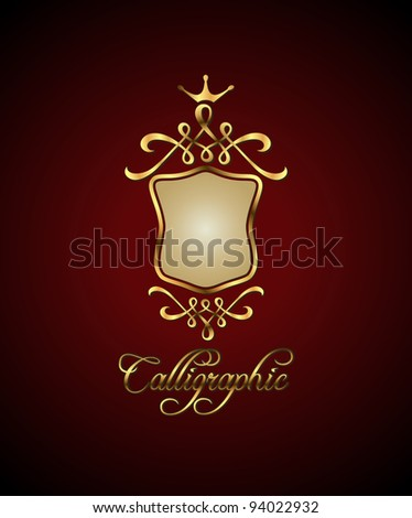 Calligraphic and decor element. Golden shield. Vector illustration. - stock vector
