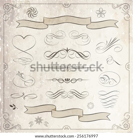 Calligraphic and decorative elements. - stock vector
