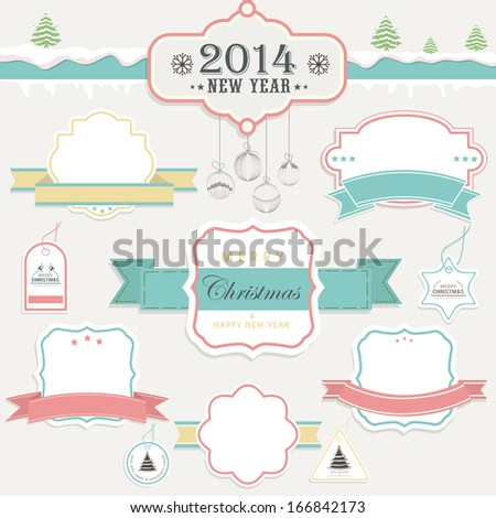 Calligraphic and typographic elements, frames, vintage labels, stickers, or tags for Merry Christmas and Happy New Year 2014 celebrations.  - stock vector