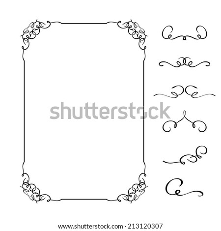 Calligraphic black decorative frame, design elements decoration page. Vector illustration - stock vector