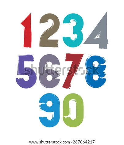 Calligraphic brush numbers, hand-painted bright vector numeration. - stock vector