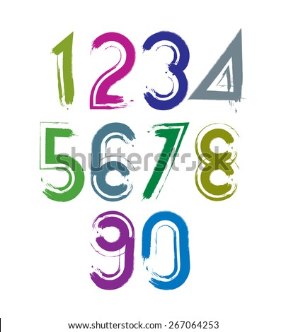 Calligraphic brush numbers with white outline, hand-painted bright vector numeration. - stock vector