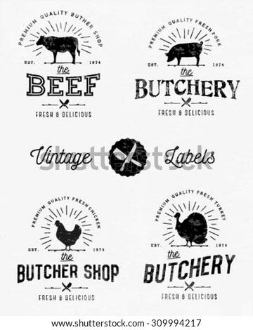 Calligraphic Butcher Shop Designs with Vintage Sun Rays - stock vector