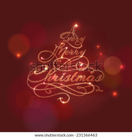 Calligraphic christmas tree on red abstract background. File grouped and layered - stock vector