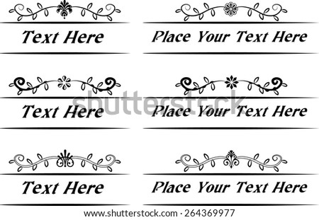 Calligraphic decorative elements with flowers - stock vector