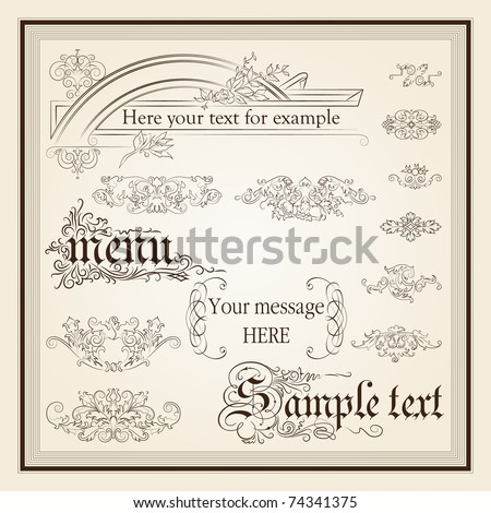 calligraphic design elements and page decoration - lots of useful elements to embellish your layout, detailed antique and baroque frames - stock vector