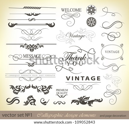 calligraphic design elements and page decoration/ vector set: - stock vector