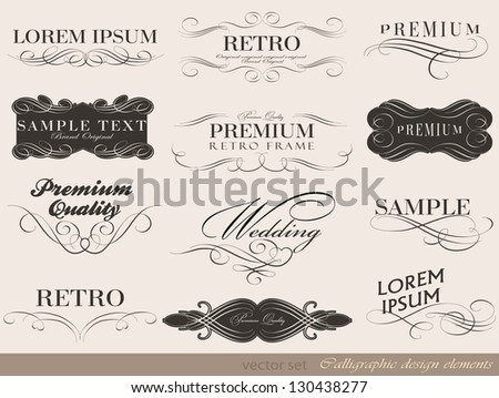 calligraphic design elements and page decoration/ vector set - stock vector
