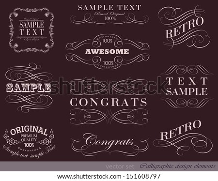 calligraphic design elements and page decoration/ vector set/ calligraphic, typographic elements/ vector template - stock vector