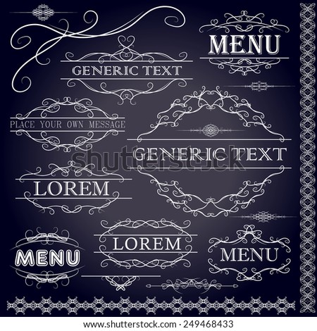 Calligraphic design elements and page decoration - vector set. Vector illustration - stock vector